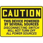 """Accuform MELC621XF, Sign """"This Device Powered By Several Sources…"""""""