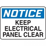 """Accuform MELC631XL, Sign """"Notice Keep Electrical Panel Clear"""""""