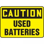 "Accuform MELC650XF, Dura-Fiberglass Sign ""Caution Used Batteries"""