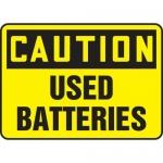 "Accuform MELC650XL, Aluma-Lite Sign ""Caution Used Batteries"""