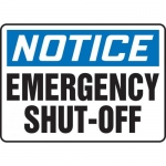 "Accuform MELC805VS, Adhesive Vinyl Sign ""Notice Emergency Shut-Off"""