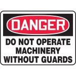 """Accuform MEQM010XL, Sign """"Do Not Operate Machinery without Guards"""""""