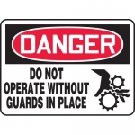 """Accuform MEQM014VP, Sign """"Do Not Operate without Guards in Place"""""""