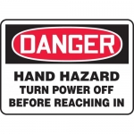 """Accuform MEQM016XF, Sign """"Hand Hazard Turn Power Off Before …"""""""