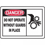 """Accuform MEQM022XT, OSHA Sign """"Do Not Operate without Guards in Place"""""""
