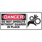 """Accuform MEQM041XF, Sign """"Do Not Operate without Guards in Place"""""""