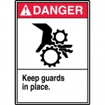 """Accuform MEQM042XL, Aluma-Lite Sign """"Danger Keep Guards in Place"""""""
