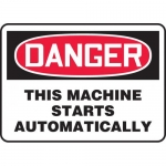 """Accuform MEQM047VP, Sign """"Danger This Machine Starts Automatically"""""""