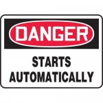 """Accuform MEQM048XT, Dura-Plastic Sign """"Danger Starts Automatically"""""""