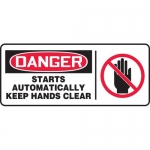 """Accuform MEQM053XF, Sign """"Starts Automatically Keep Hands Clear"""""""