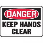 "Accuform MEQM063VS, Adhesive Vinyl Sign ""Danger Keep Hands Clear"""