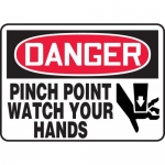 """Accuform MEQM070VP, Plastic OSHA Sign """"Pinch Point Watch Your Hands"""""""