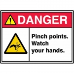 """Accuform MEQM080VP, ANSI Sign """"Danger Pinch Points Watch Your Hands"""""""