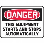 """Accuform MEQM089XL, Sign """"This Equipment Starts and Stops …"""""""