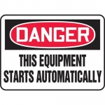 """Accuform MEQM090XL, Sign """"This Equipment Starts Automatically"""""""