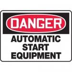 "Accuform MEQM101VS, Vinyl Sign ""Danger Automatic Start Equipment"""
