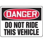 """Accuform MEQM104VP, Plastic Sign """"Danger Do Not Ride This Vehicle"""""""