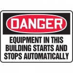 """Accuform MEQM107VS, Sign """"Equipment in This Building Starts and …"""""""