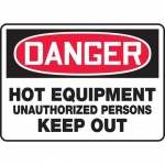 "Accuform MEQM115VS, Sign ""Hot Equipment Unauthorized Persons Keep Out"""