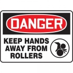 "Accuform MEQM134VA, Sign ""Danger Keep Hands Away from Rollers"""