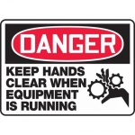 "Accuform MEQM136XV, Sign ""Keep Hands Clear When Equipment is Running"""