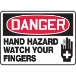 "Accuform MEQM139XL, Sign ""Danger Hand Hazard Watch Your Fingers"""
