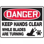 """Accuform MEQM144VP, Sign """"Keep Hands Clear While Blades Are Turning"""""""