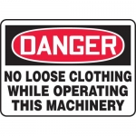 """Accuform MEQM145XL, Sign """"No Loose Clothing While Operating This …"""""""