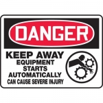 """Accuform MEQM151VP, Sign """"Keep Away Equipment Starts Automatically…"""""""