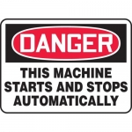"Accuform MEQM152XV, Dura-Vinyl Sign ""This Machine Starts and Stops…"""