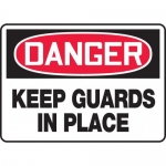 """Accuform MEQM158VP, Plastic Sign """"Danger Keep Guards in Place"""""""
