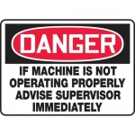 """Accuform MEQM168VP, Sign """"If Machine is Not Operating Properly…"""""""