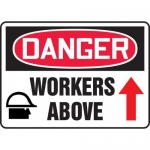 """Accuform MEQM182VP, 10″ x 14″ Plastic Sign: """"Danger Workers Above"""""""