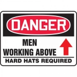 """Accuform MEQM183VP, Sign """"Men Working Above Hard Hats Required"""""""
