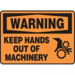 """Accuform MEQM306VP, Plastic OSHA Sign """"Keep Hands Out of Machinery"""""""