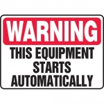 """Accuform MEQM308VP, Safety Sign """"Warning This Equipment Starts …"""""""