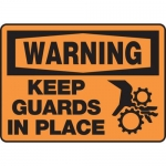 "Accuform MEQM310VA, Aluminum Sign ""Warning Keep Guards in Place"""