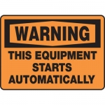 "Accuform MEQM320VS, Sign ""Warning This Equipment Starts Automatically"""