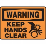"""Accuform MEQM324VA, Aluminum Safety Sign """"Warning Keep Hands Clear"""""""