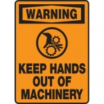 """Accuform MEQM329VP, Plastic Sign """"Warning Keep Hands Out of Machinery"""""""