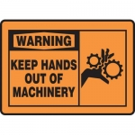 """Accuform MEQM331VP, Plastic Sign """"Warning Keep Hands Out of Machinery"""""""