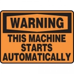 """Accuform MEQM340VP, Sign """"Warning This Machine Starts Automatically"""""""