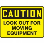 "Accuform MEQM534VS, Vinyl Sign ""Caution Look Out for Moving Equipment"""