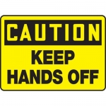 "Accuform MEQM613VS, Adhesive Vinyl Sign ""Caution Keep Hands Off"""