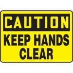 """Accuform MEQM623VP, 10″ x 14″ Plastic Sign: """"Caution Keep Hands Clear"""""""