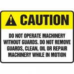 """Accuform MEQM662XL, Sign """"Do Not Operate Machinery without Guards…"""""""