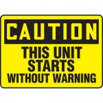"""Accuform MEQM663VA, Sign """"Caution This Unit Starts without Warning"""""""