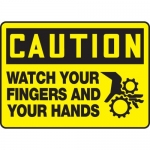 """Accuform MEQM672VP, Sign """"Caution Watch Your Fingers and Hands"""""""