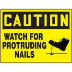 """Accuform MEQM693XT, BIGSigns Sign """"Caution Watch for Protruding Nails"""""""