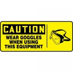 "Accuform MEQM744XV, Sign ""Wear Goggles When Using This Equipment"""